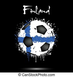 Soccer ball in the colors of the Finland flag