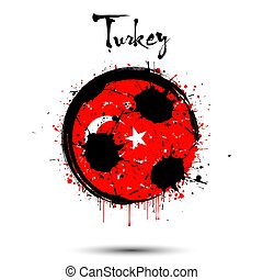Soccer ball in the colors of the Turkey flag