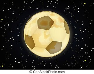 soccer ball in the form of the moon against the starry sky