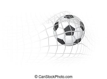 Soccer Ball in the goal net
