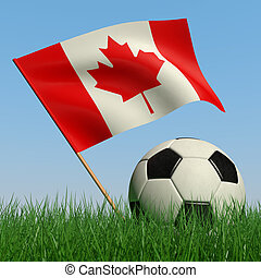Soccer ball in the grass and the flag of Canada