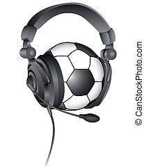 soccer ball in the headphones
