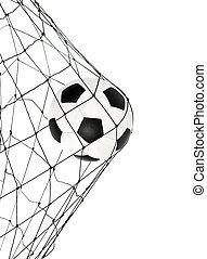 soccer ball in the net gate