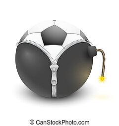 soccer ball inside a burning bomb
