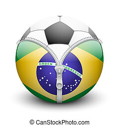 soccer ball inside Brazil symbol