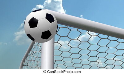 soccer ball is flying in the goal, slow-motion animation on time-lapsed sky background