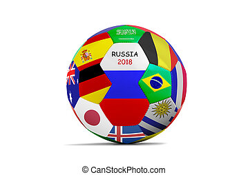 soccer ball isolated with a lot of flag for the cup 2018
