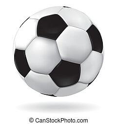 Soccer ball. - Leather soccer ball icon. Vector footbal...