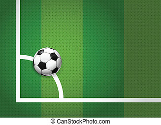 Soccer ball lying on the corner of the game field