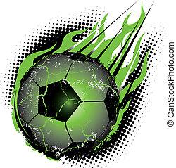 A green glowing soccer ball hurling toward Earth