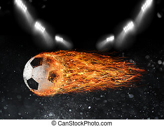 Soccer ball of fire at the stadium