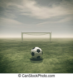 Soccer ball on a green grass