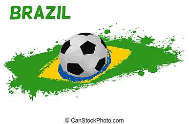 Soccer ball on a grunge flag of Brazil