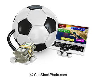 soccer ball on a laptop