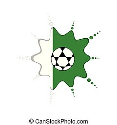 Soccer ball on a nigerian emblem. Vector illustration design