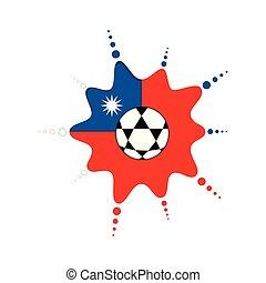 Soccer ball on a taiwanese emblem. Vector illustration ...