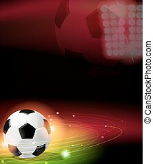 Soccer ball on abstract background with lights and sparks....