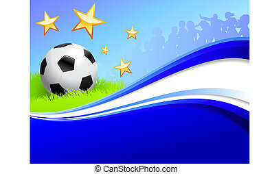 Soccer Ball on Abstract Blue Background