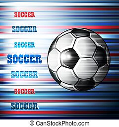 Soccer ball on abstract colorful background.