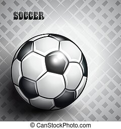 Soccer ball on abstract gray background.