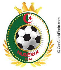 Soccer ball on Algerian flag