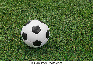 soccer ball on artificial turf - Close up soccer ball on...