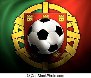 soccer ball on background of the fl