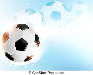 Soccer ball on blue background