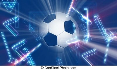 Soccer ball on blue background