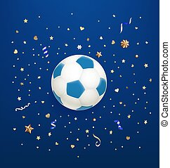 Soccer ball on blue background with confetti