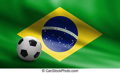 Soccer ball on brazil flag background