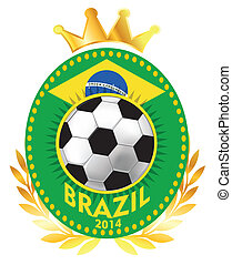 Soccer ball on brazil flag