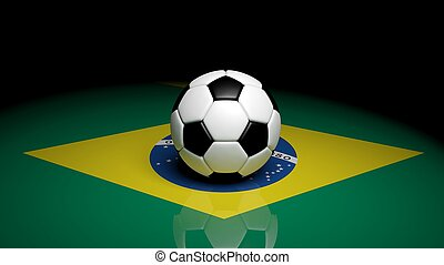 Soccer ball on Brazilian flag