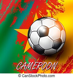 Soccer ball on Cameroon flag background.