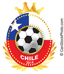 Soccer ball on Chile flag