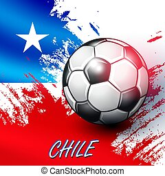 Soccer ball on Chilean flag background.
