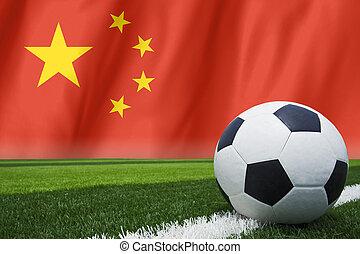 soccer ball on china flag