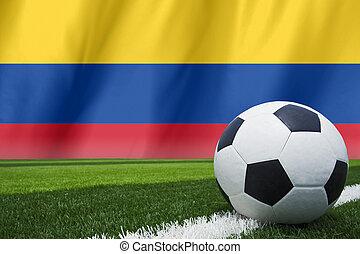 soccer ball on columbia flag
