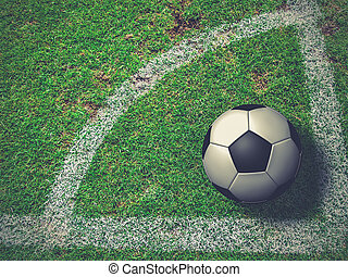 Soccer Ball on Corner Kick from top view