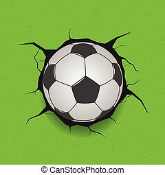 Soccer ball on cracked background