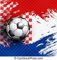 Soccer ball on Croatia flag abstract backgrounds.