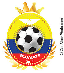 Soccer ball on Ecuador flag