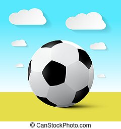 Soccer Ball on Field Vector Illustration with Blue Sky and Clouds