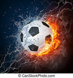 Soccer Ball on Fire and Water. 2D Graphics. Computer Design.