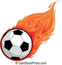 Soccer ball on fire. Vector illustration