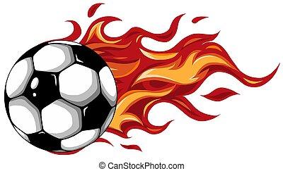 soccer ball on fire vector illustration design