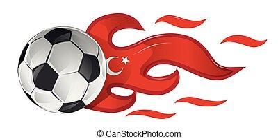 soccer ball on fire with turkey flag