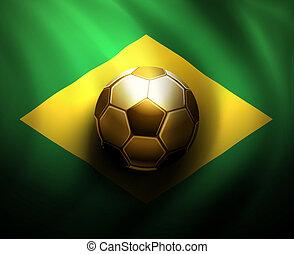 Soccer ball on flag of Brazil, World Cup 2014, eps 10