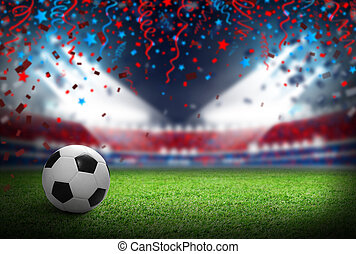 Soccer ball on football field in stadium with spotlight