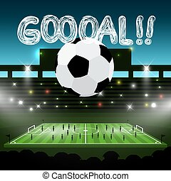 Soccer Ball on Football Stadium with Goooal!! title. Goal Vector Sport Symbol.
